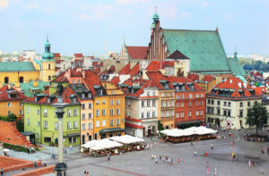 Main square in the old Warsaw city in Poland